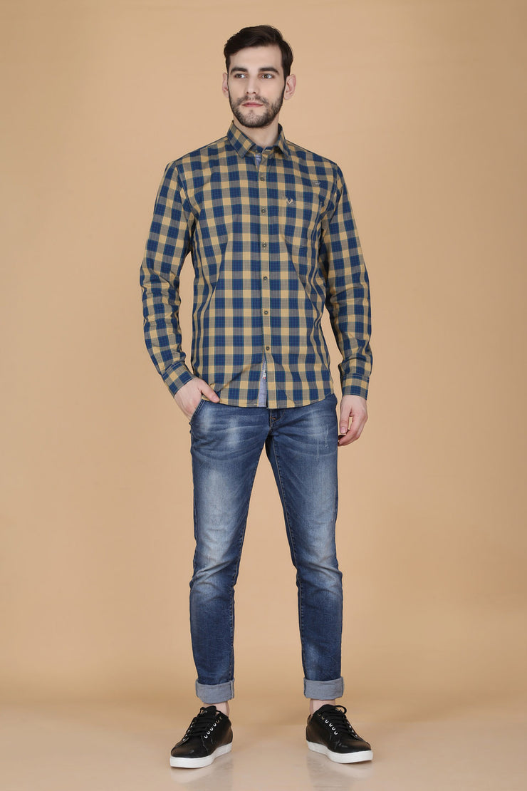 Light Yellow Cotton Plaids Spread Collar Slim Fit Shirt
