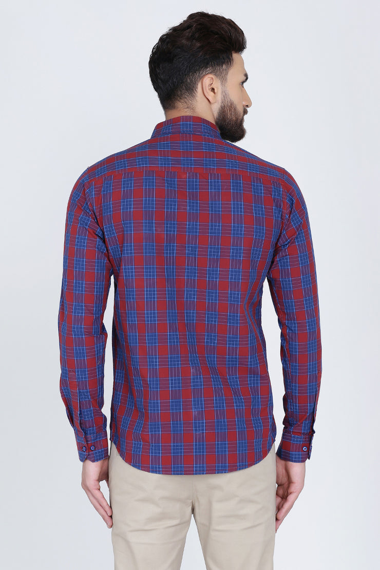 Red Cotton Plaids Spread Collar Slim Fit Shirt