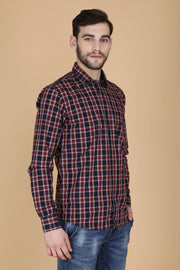 Navy Blue and Red Cotton Checks Print Slim Fit Shirt
