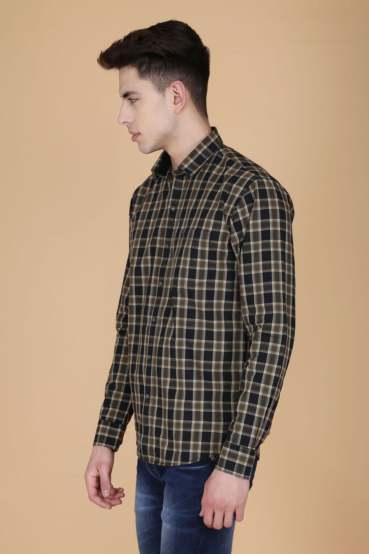 Black and Yellow Cotton Checks Print Slim Fit Shirt