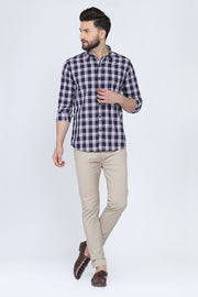 Black Cotton Plaids Spread Collar Full Sleeves Shirt