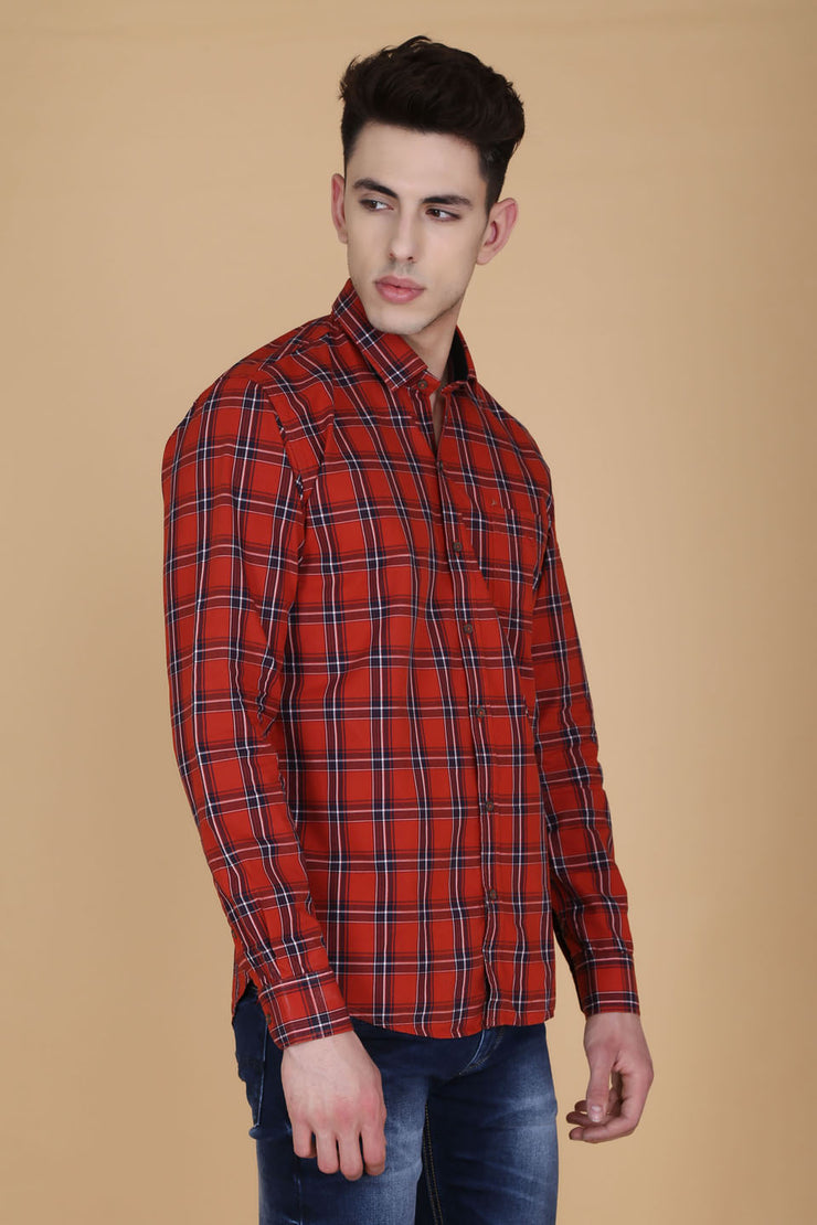 Orange Cotton Plaids Spread Collar Full Sleeves Shirt
