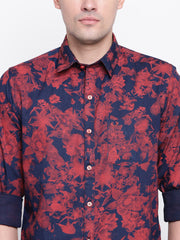 Red Print Denim Floral Print Casual Shirt