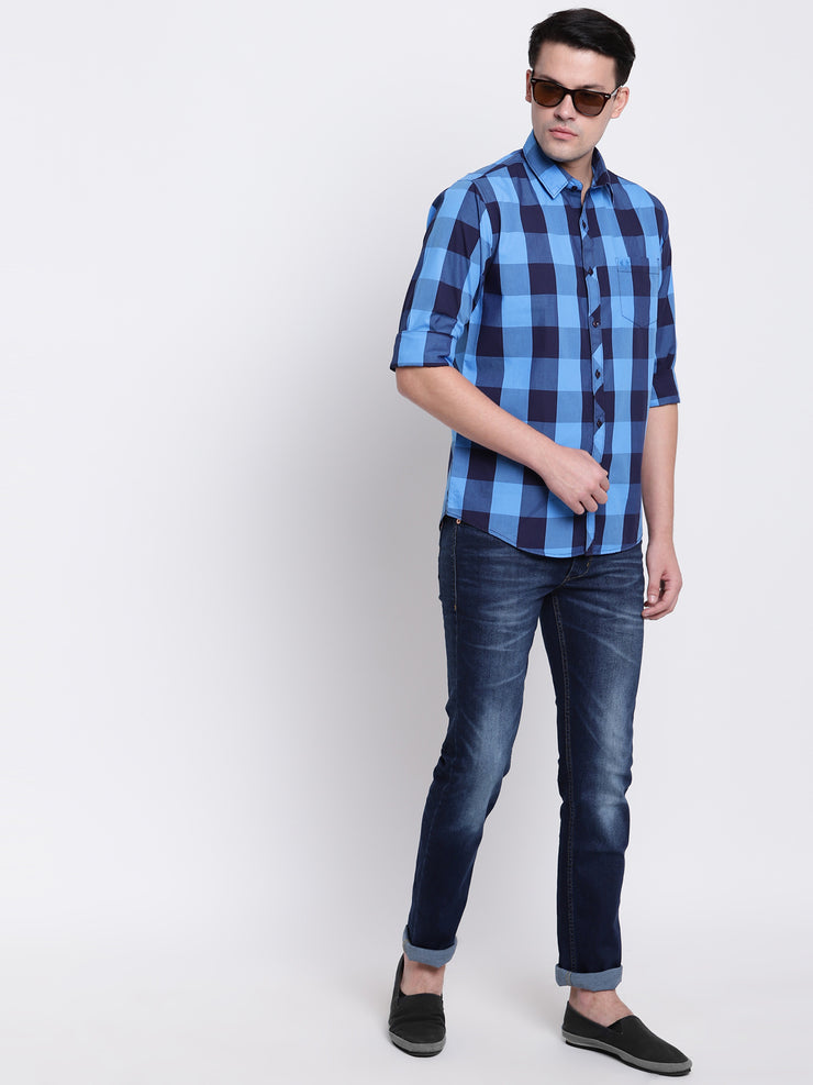 Cotton Checkered Blue Casual Full Sleeves Shirt