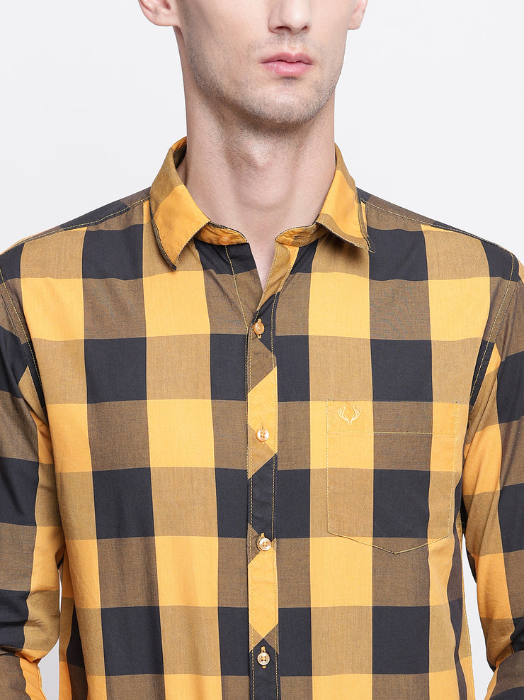 Cotton Checkered Yellow Casual Full Sleeves Shirt