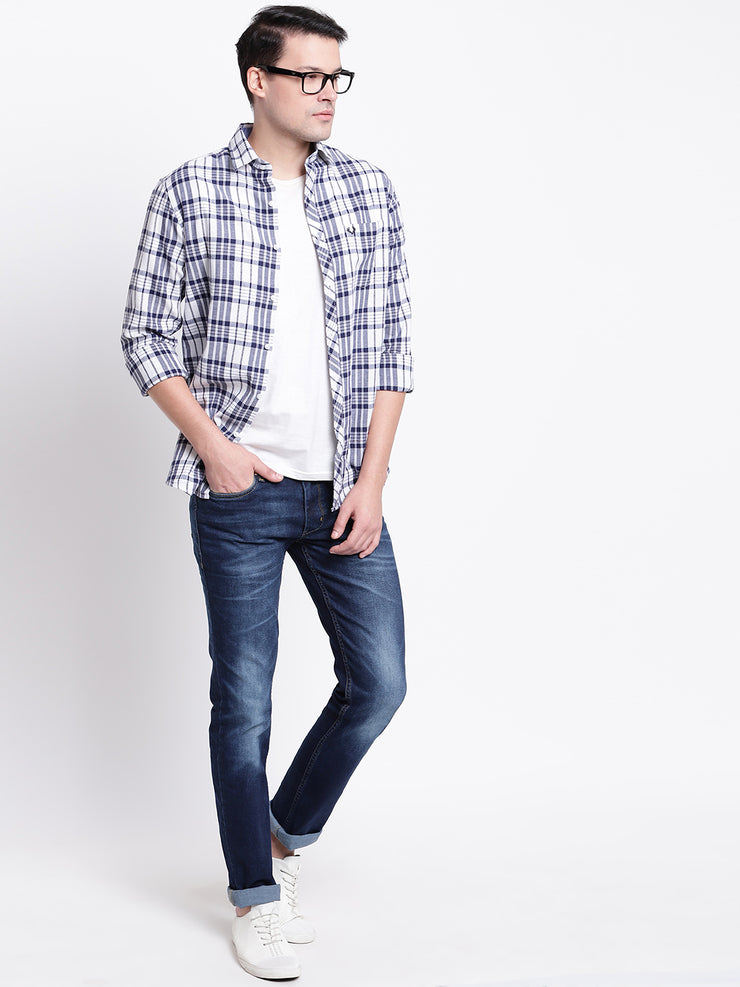 Cotton Checkered Blue Casual Shirt