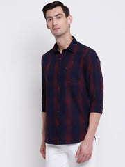Mens Blue & Maroon Shirt