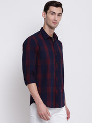 Maroon Checkered Cotton Shirt