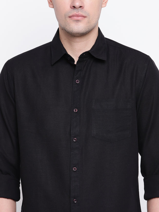 Black Solid Spread Collar Cotton Linen Shirt