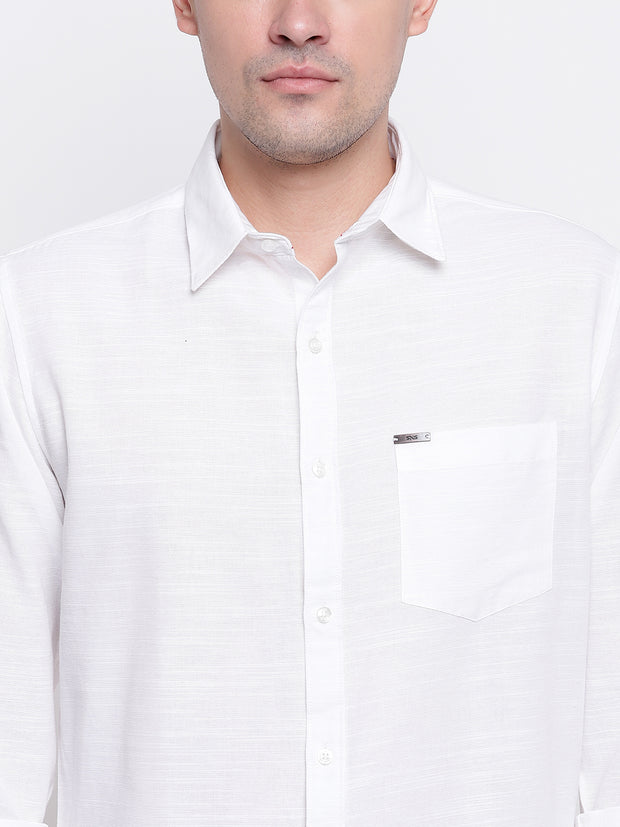 White Solid Spread Collar Cotton Linen Shirt