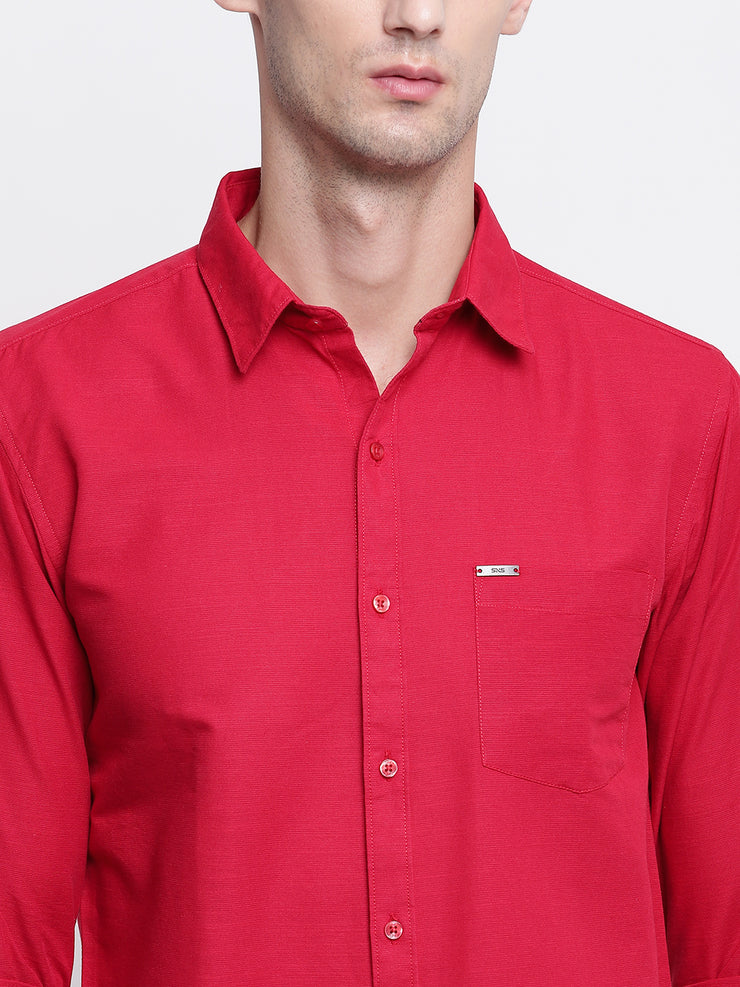 Red Solid Spread Collar Cotton Linen Shirt
