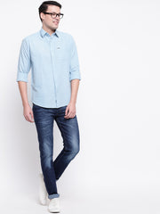 Blue Solid Spread Collar Cotton Linen Shirt