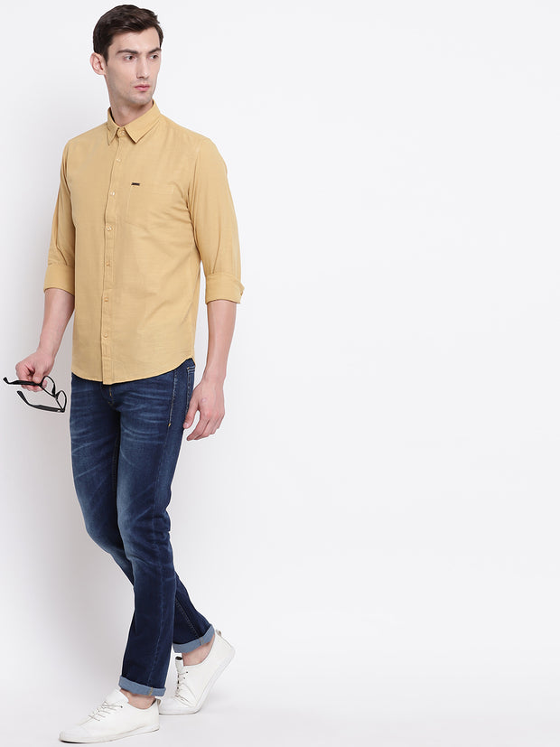 Beige Solid Spread Collar Cotton Linen Shirt
