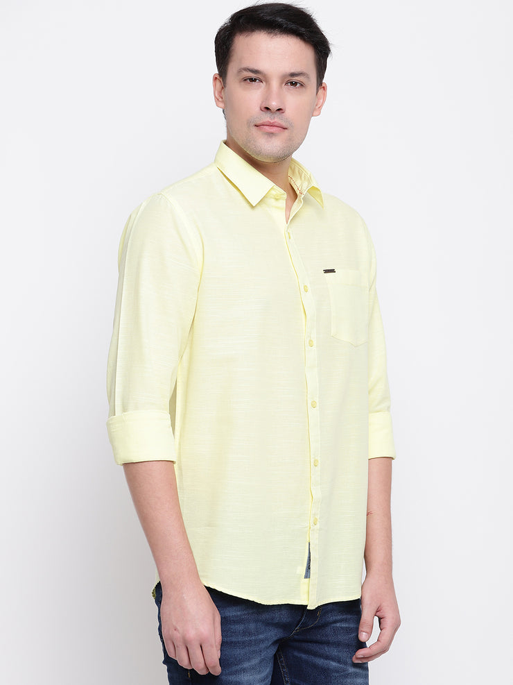 Yellow Solid Spread Collar Cotton Linen Shirt