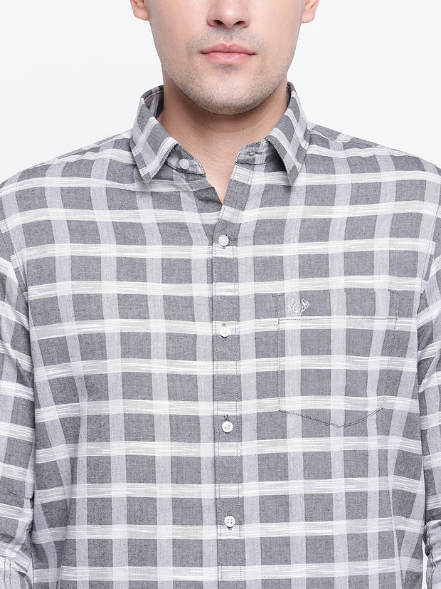 Checkered Grey Casual Cotton Shirt