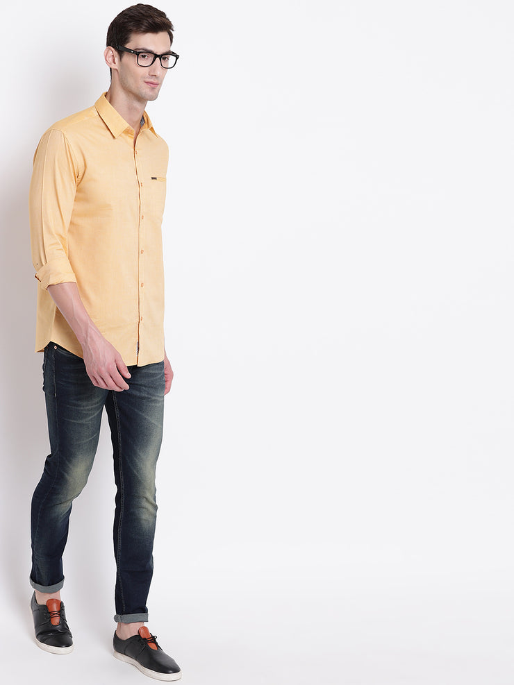 Cotton Spread Collar Yellow Casual Shirt