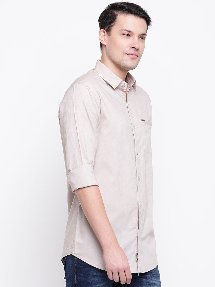 Cotton Spread Collar Beige Casual Shirt