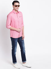 Cotton Spread Collar Pink Casual Shirt