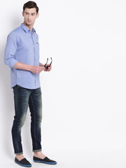 Cotton Spread Collar Blue Casual Shirt