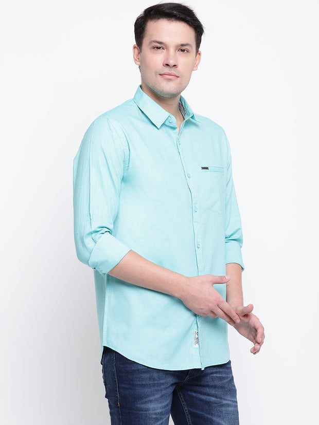 Cotton Spread Collar Green Casual Shirt