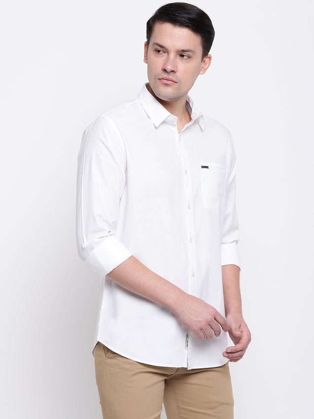 Cotton Spread Collar White Casual Shirt
