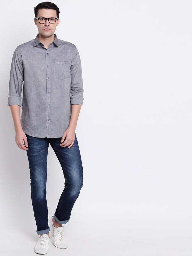 Cotton Spread Collar Grey Casual Shirt