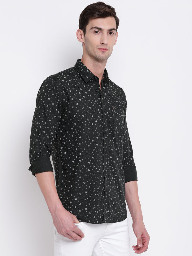 Green Floral Cotton Casual Shirt