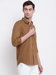 Brown Floral Cotton Casual Shirt