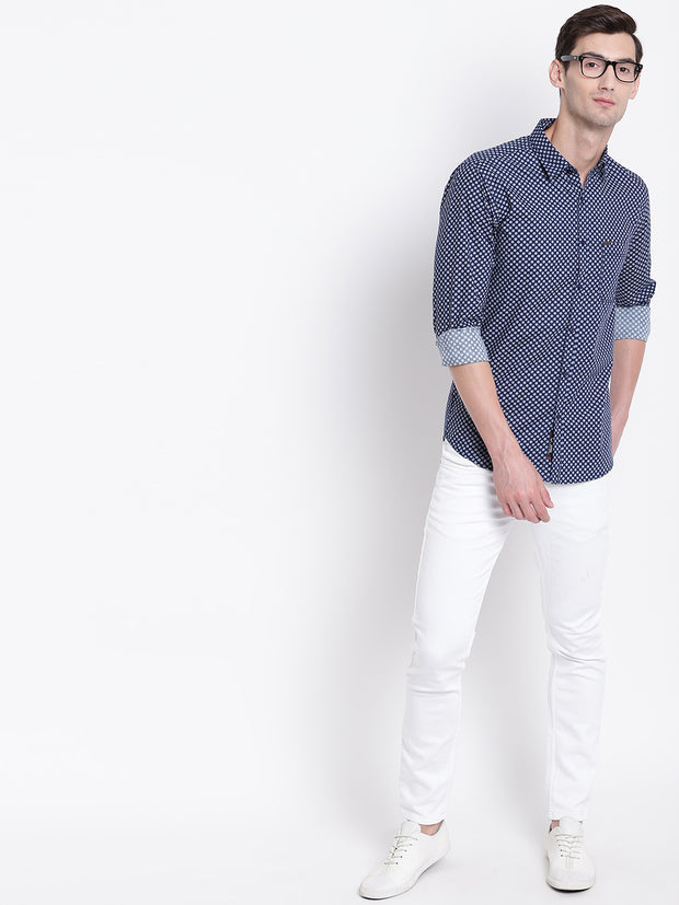 Blue Geometric Print Casual Cotton Shirt