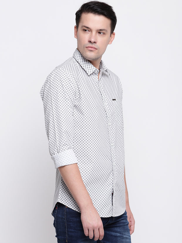 White Geometric Print Casual Cotton Shirt