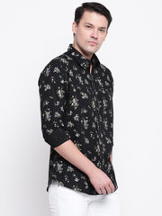 Black Printed Cotton Full Sleeves Shirt