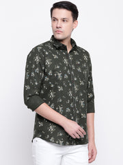 Green Printed Cotton Full Sleeves Shirt