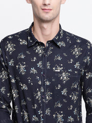 Blue Printed Cotton Full Sleeves Shirt