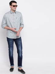 Floral Grey Button-down Front Casual Satin Shirt