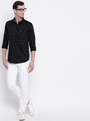 Floral Black Button-down Front Casual Satin Shirt