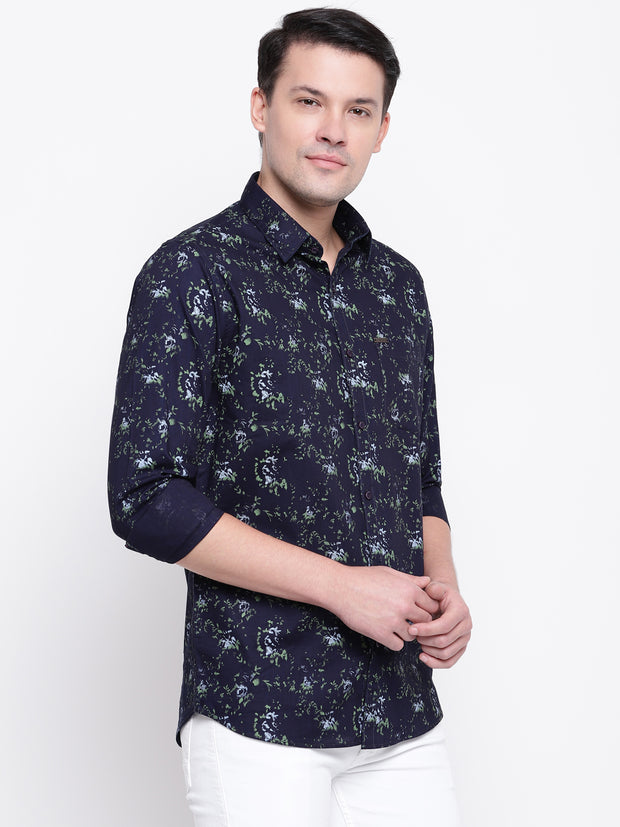 Green Print Denim Full Sleeves Printed  Shirt