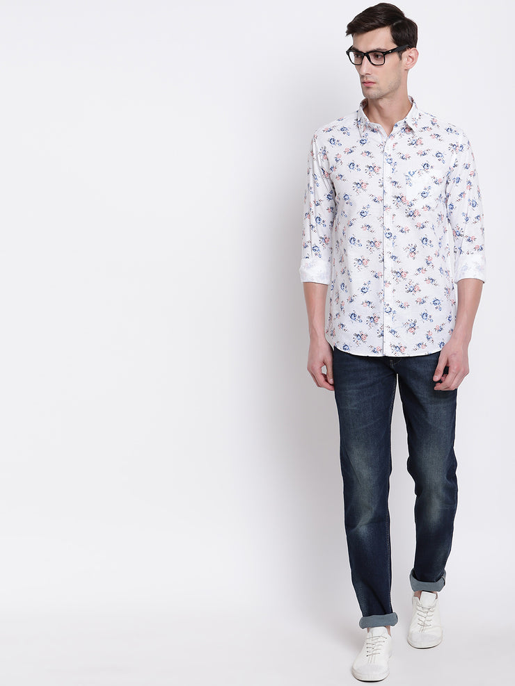White Spread Collar Cotton Floral Shirt