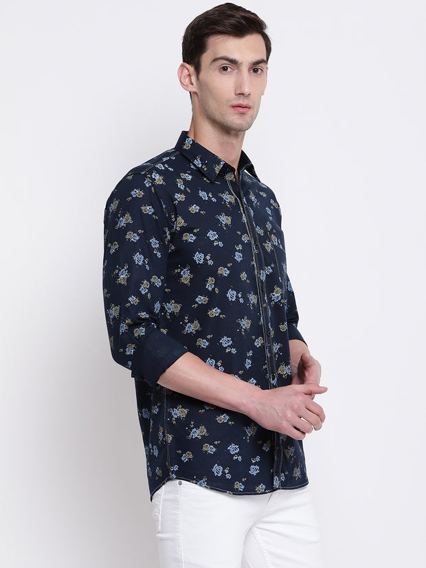 Blue Spread Collar Cotton Floral Shirt