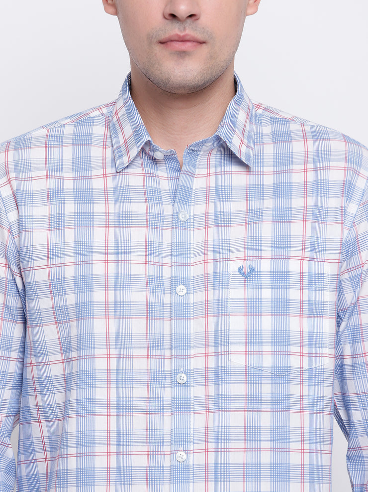 Blue Cotton Full Sleeves Checkered  Shirt