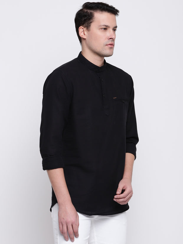 Black Casual Mandarin Collar Cotton Shirt