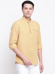 Gold Casual Mandarin Collar Cotton Shirt