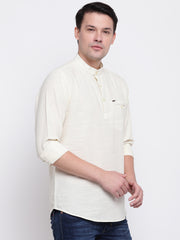Cream Casual Mandarin Collar Cotton Shirt