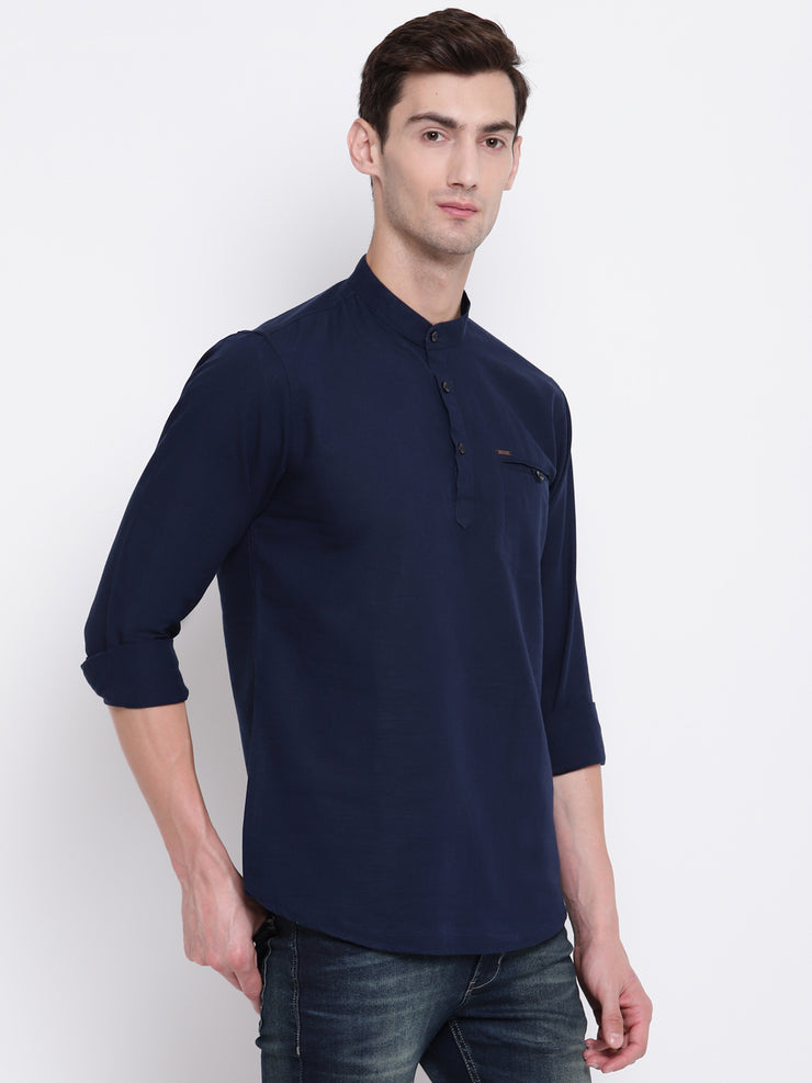 Blue Casual Mandarin Collar Cotton Shirt