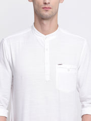 White Casual Mandarin Collar Cotton Shirt
