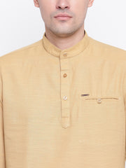 Beige Casual Mandarin Collar Cotton Shirt