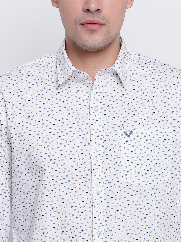 Printed White Button-down Front Casual Cotton Shirt
