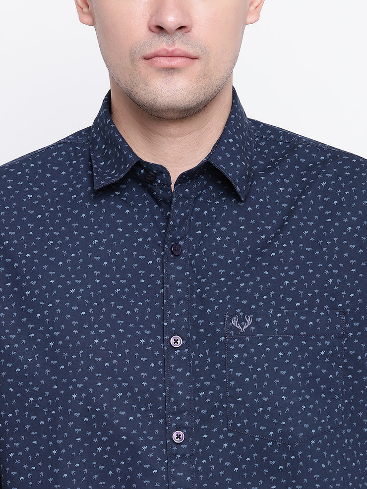 Printed Blue Button-down Front Casual Cotton Shirt