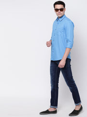Blue Casual Solid Full Sleeves Cotton Shirt