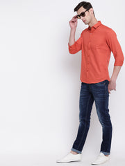 Orange Casual Solid Full Sleeves Cotton Shirt