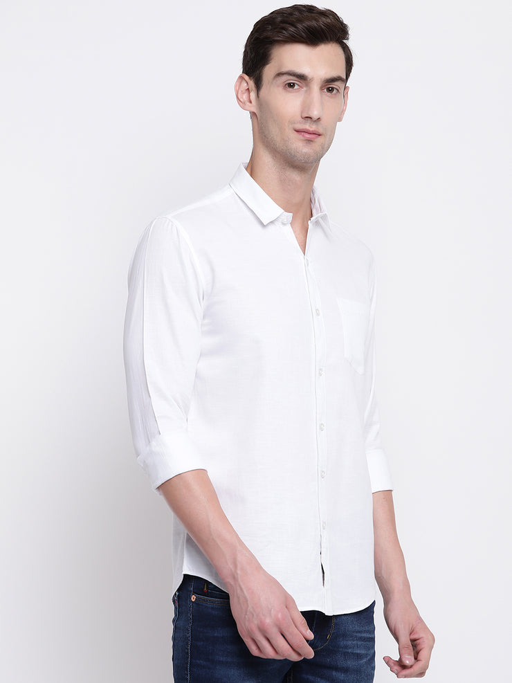 White Casual Solid Full Sleeves Cotton Shirt